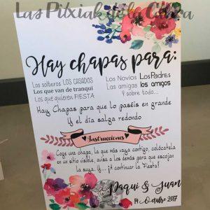 Cartel para bodas hay chapas con flores instrucciones