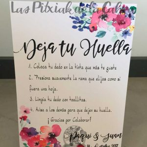 Cartel para bodas deja tu huella flores