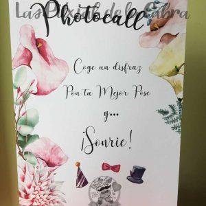 Cartel para bodas photocall con calas disfrazate