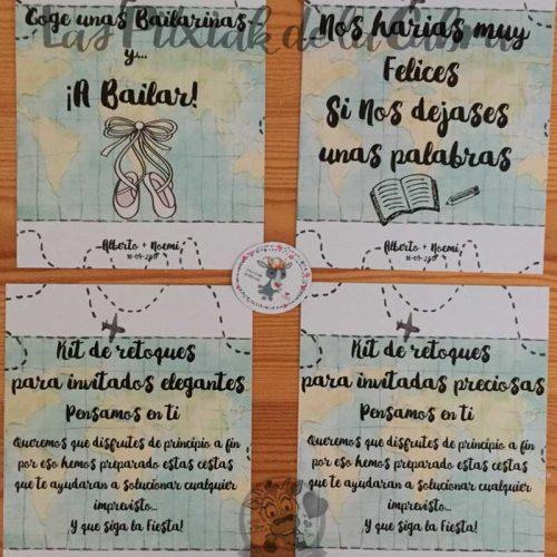 Cartel para bodas temática viajera muchos espacios