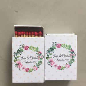 Cerillas para bodas con diseño de corona de flores
