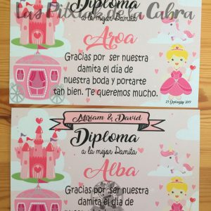 Diploma damitas boda carroza y princesas