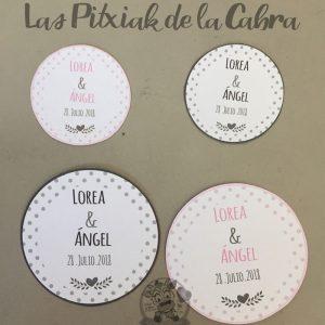 Pegatinas para bodas con nombres de novios en varios tamaños