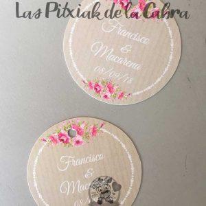Etiquetas para bodas con flores y marrón