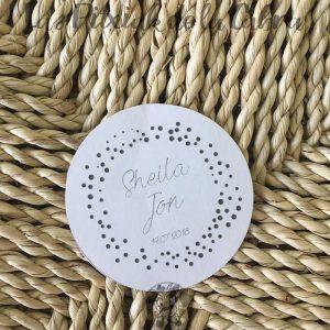 pegatinas para detalles de bodas blancas y grises