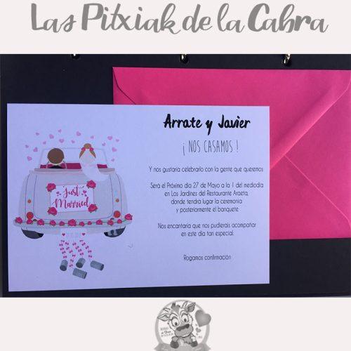 Invitación de bodas con coche de novios rosa