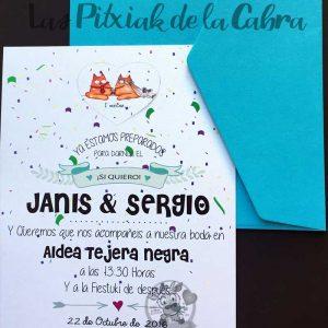 Invitación de bodas gatitos