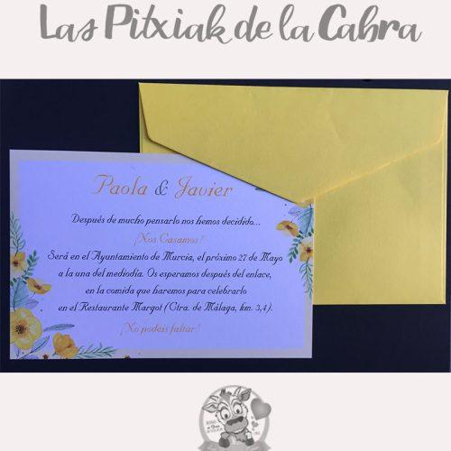 Invitación de bodas con flores amarillas