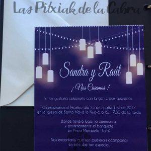 Invitación de bodas con luces