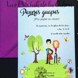 Invitación de bodas mis papis se casan infantil