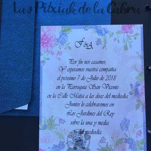 Invitación de bodas romántica