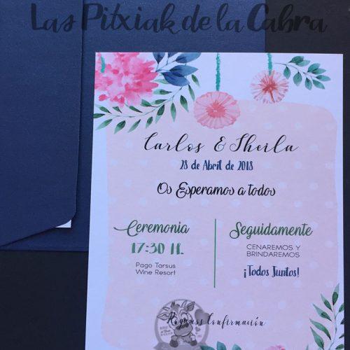 Invitación festiva para bodas