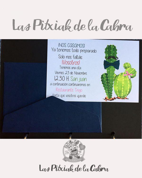 Invitación de bodas cactus