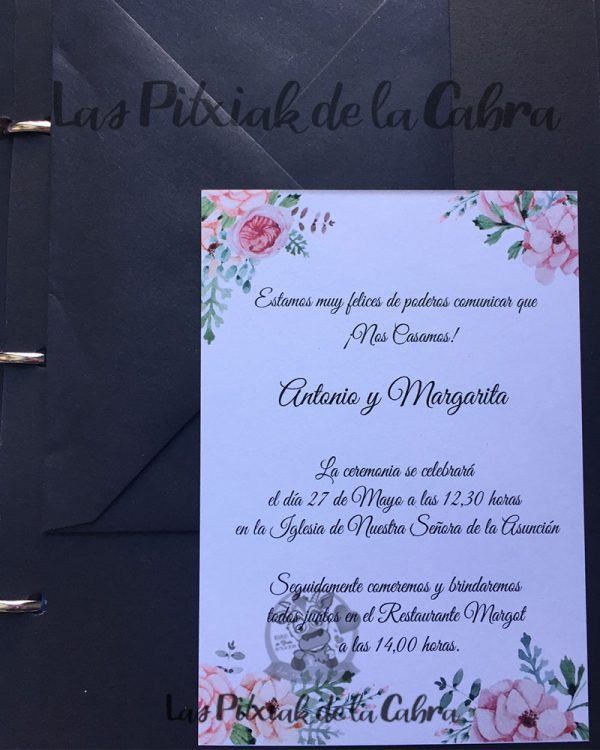 Invitación de bodas flores peonías