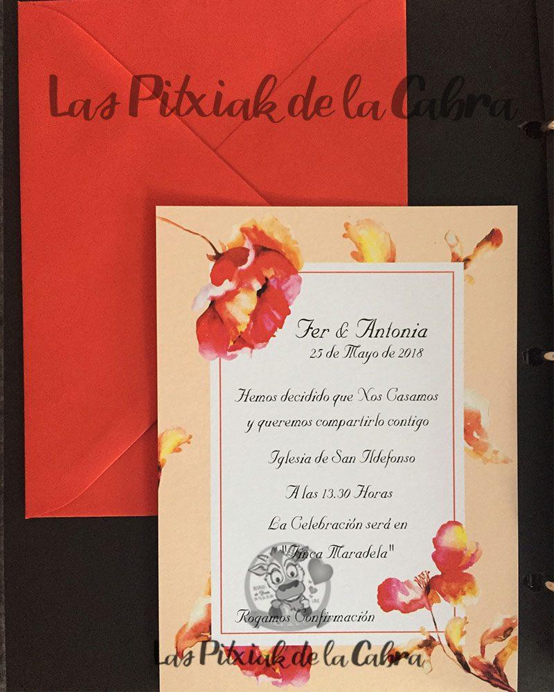 Invitación de bodas naranja flores