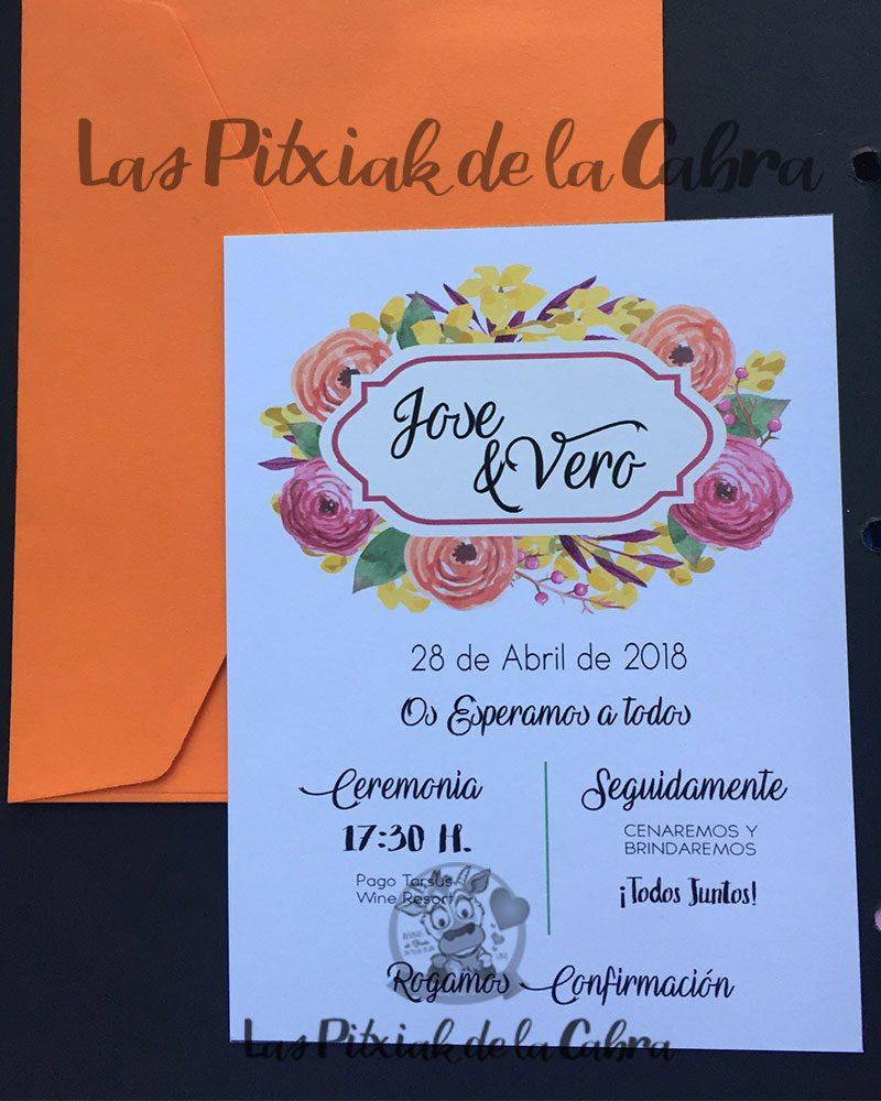 Invitación de bodas sobre naranja