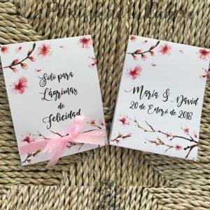 Pañuelos para lágrimas de felicidad de bodas almendro