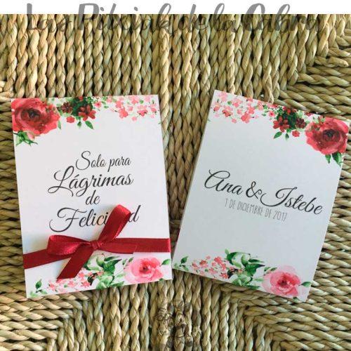 Pañuelos para lágrimas de felicidad de bodas granate y rosa