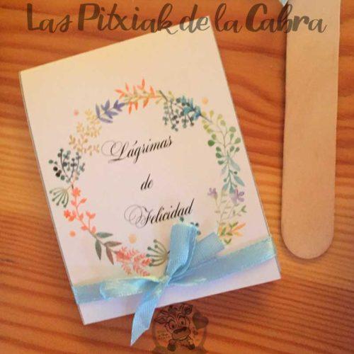 Pañuelos para lágrimas de felicidad de bodas ocre y azul