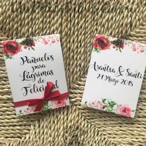 Pañuelos para lágrimas de felicidad de bodas granates y rosas