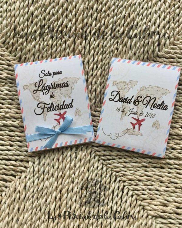 Pañuelos para lágrimas de felicidad de bodas con temática viajera