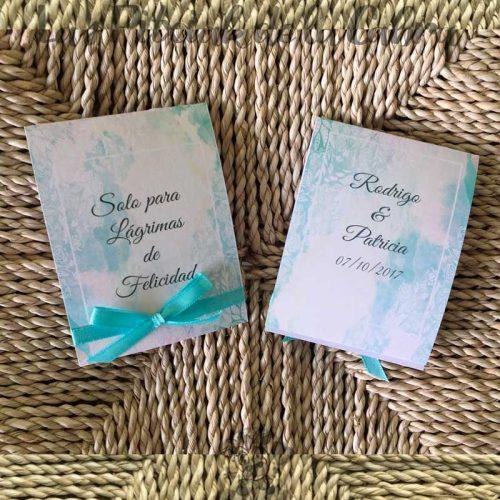 Pañuelos para lágrimas de felicidad de bodas lazo azul