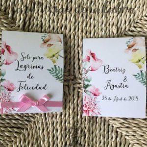 Pañuelos para lágrimas de felicidad de bodas con calas