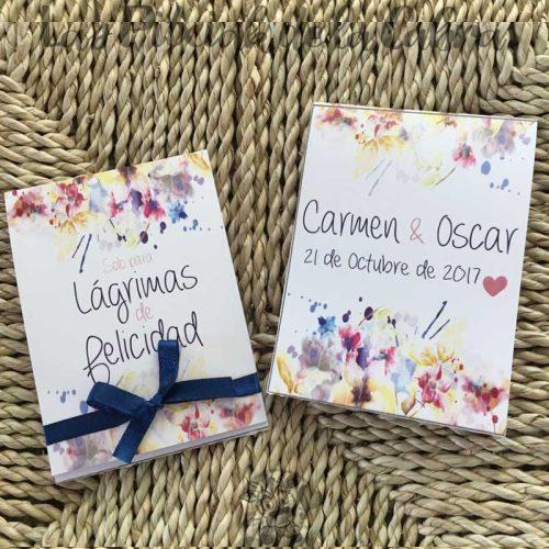 Pañuelos para lágrimas de felicidad de bodas colores
