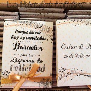 Pañuelos para lágrimas de felicidad de bodas lazo dorado