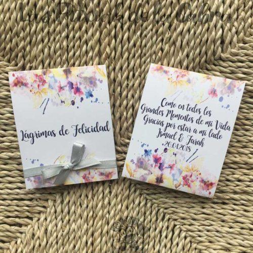 Pañuelos para lágrimas de felicidad de bodas con texto de agradecimiento