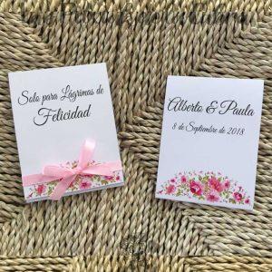 Pañuelos para lágrimas de felicidad de bodas rosas
