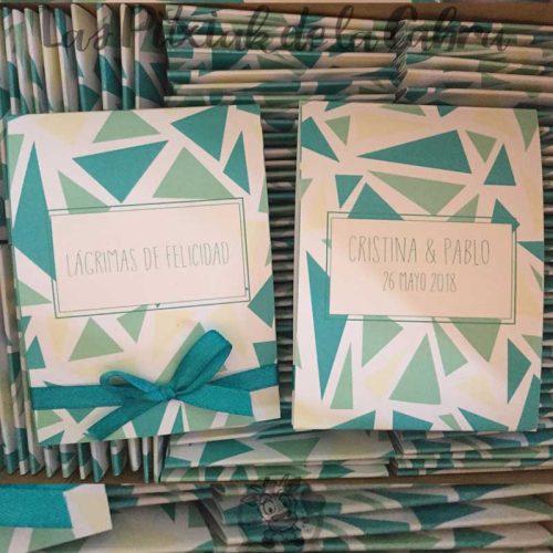 Pañuelos para lágrimas de felicidad de bodas estampado geométrico