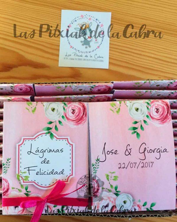 Pañuelos para lágrimas de felicidad de bodas rosa y flores