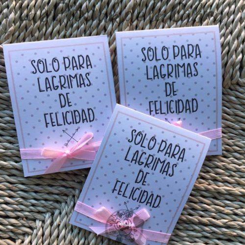 Pañuelos para lágrimas de felicidad de bodas lunares grises