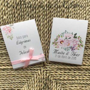 Pañuelos para lágrimas de felicidad de bodas lazo rosa