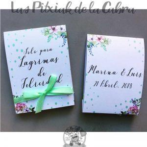 Pañuelos para lágrimas de felicidad de bodas con puntitos verdes