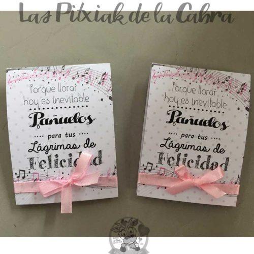 Pañuelos para lágrimas de felicidad de bodas musicales rosas