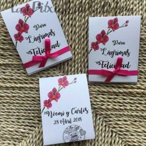 Pañuelos para lágrimas de felicidad de bodas orquidea