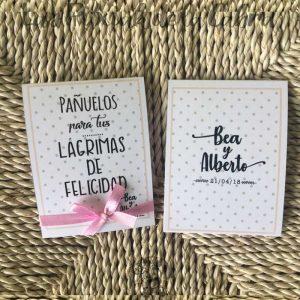 Pañuelos para lágrimas de felicidad de bodas lunares en dos colores