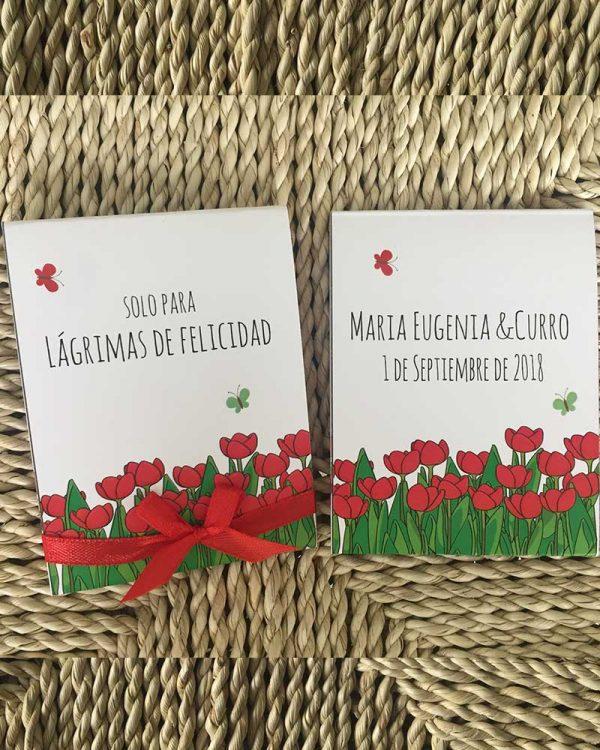 Pañuelos para lágrimas de felicidad con tulipanes
