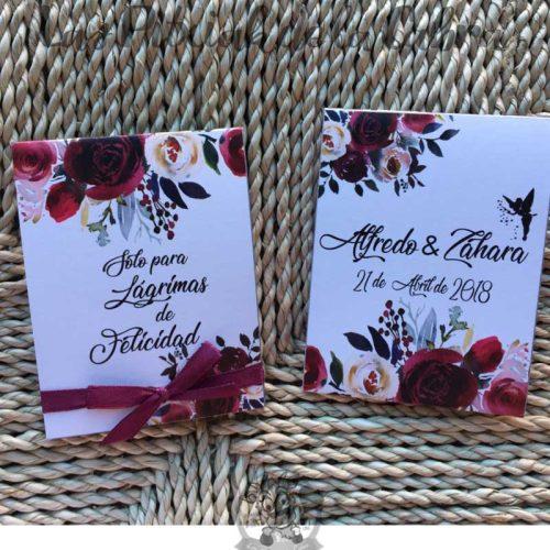 Pañuelos para lágrimas de felicidad de bodas con campanilla