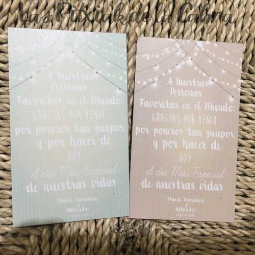 Tarjetas de agradecimiento para bodas en varios colores