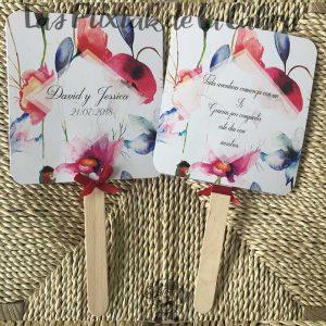 Pai pai para bodas con flores de colores y texto de agradecimiento