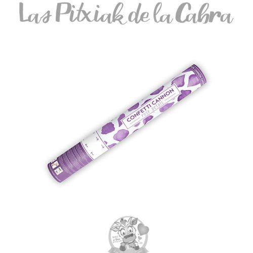 Cañón de confeti de colores pétalos lilas