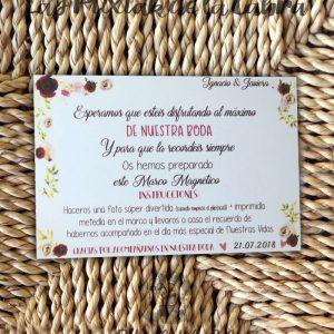 Tarjeta para bodas con texto marco magnético
