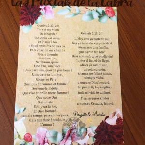 Pergaminos para bodas con texto testigos de jehova