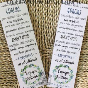 Marcapáginas de agradecimiento para bodas con texto de sois los favoritos
