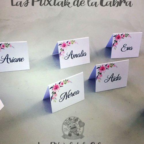 Marcasitios para bodas de papel con flores rositas