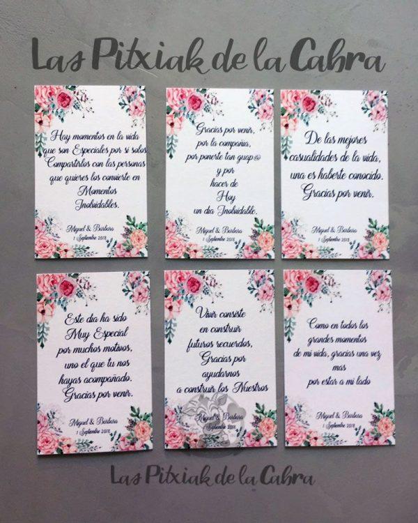 Tarjetas de agradecimiento con peonías y varios textos