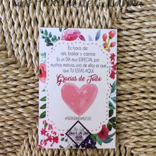 Tarjetas de agradecimiento para bodas corazón y flores